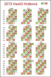 Kalendář směn 2015
